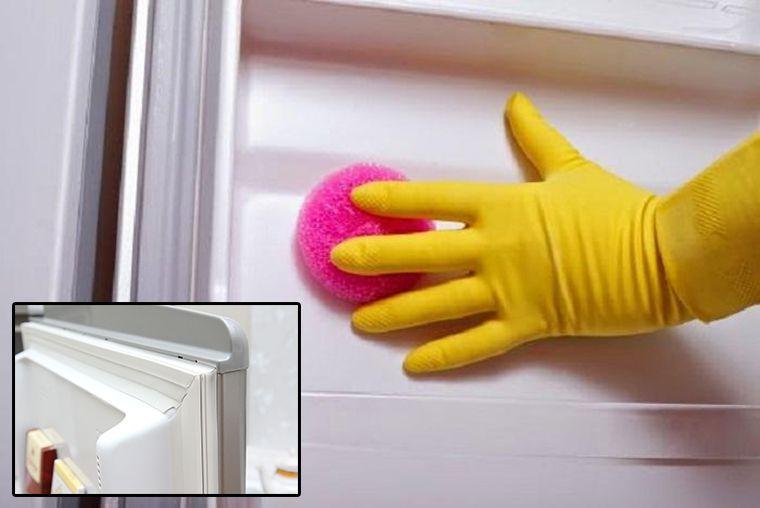 Chú ý làm sạch phần cánh cửa và đệm cao su ở cửa