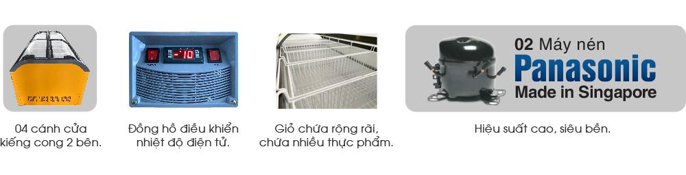 tủ đông siêu thị kiếng cong